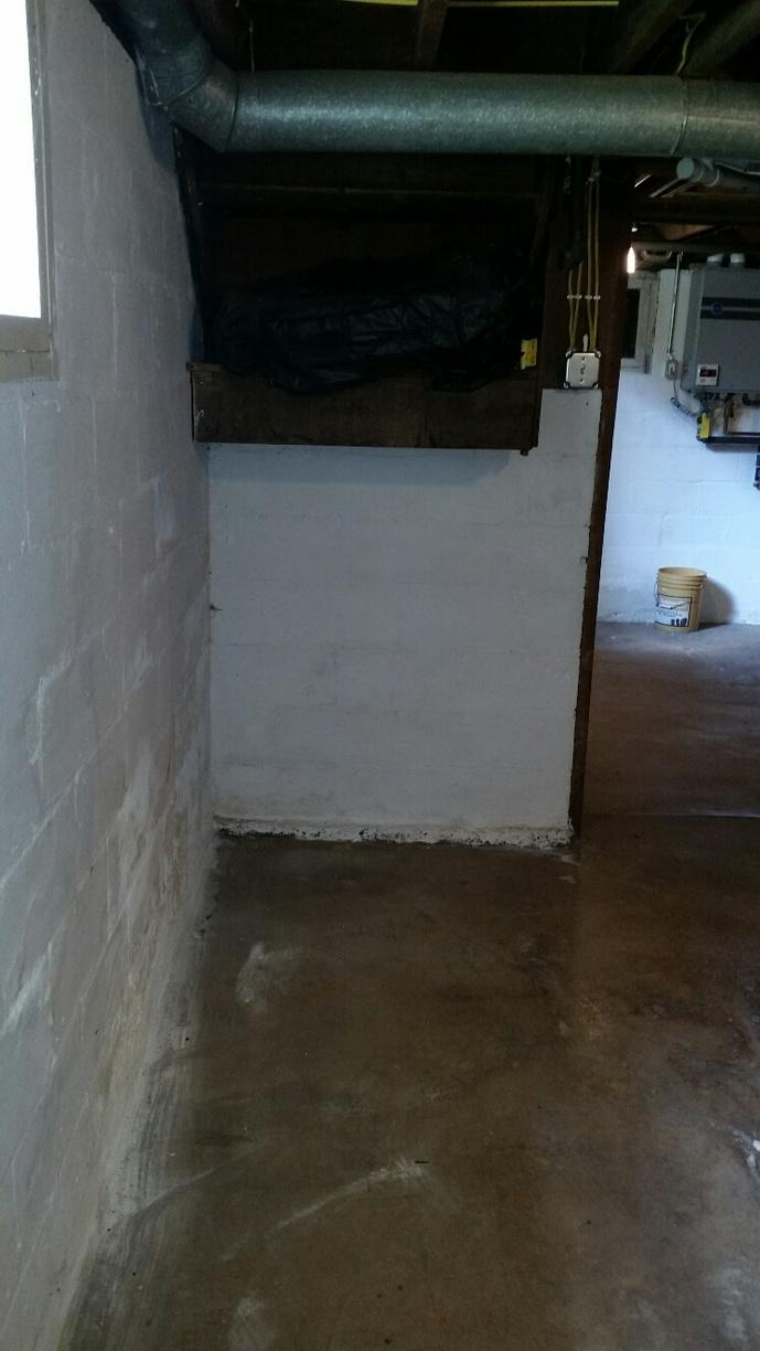 Before the WaterGuard and ZenWall are installed, the basement is damp, dingy and dark.