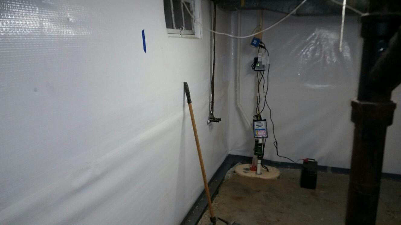 The TripleSafe Sump Pump works to keep the basement dry. The PowerBraces will be installed just a couple feet away from the powerful pumps.