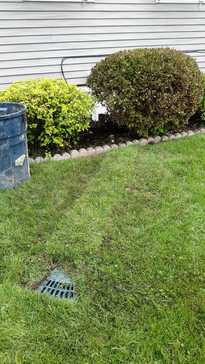The buried discharge line keeps water away from the foundation. The discharge line pumps from the sump pump, through the line, and out the LawnScape well.