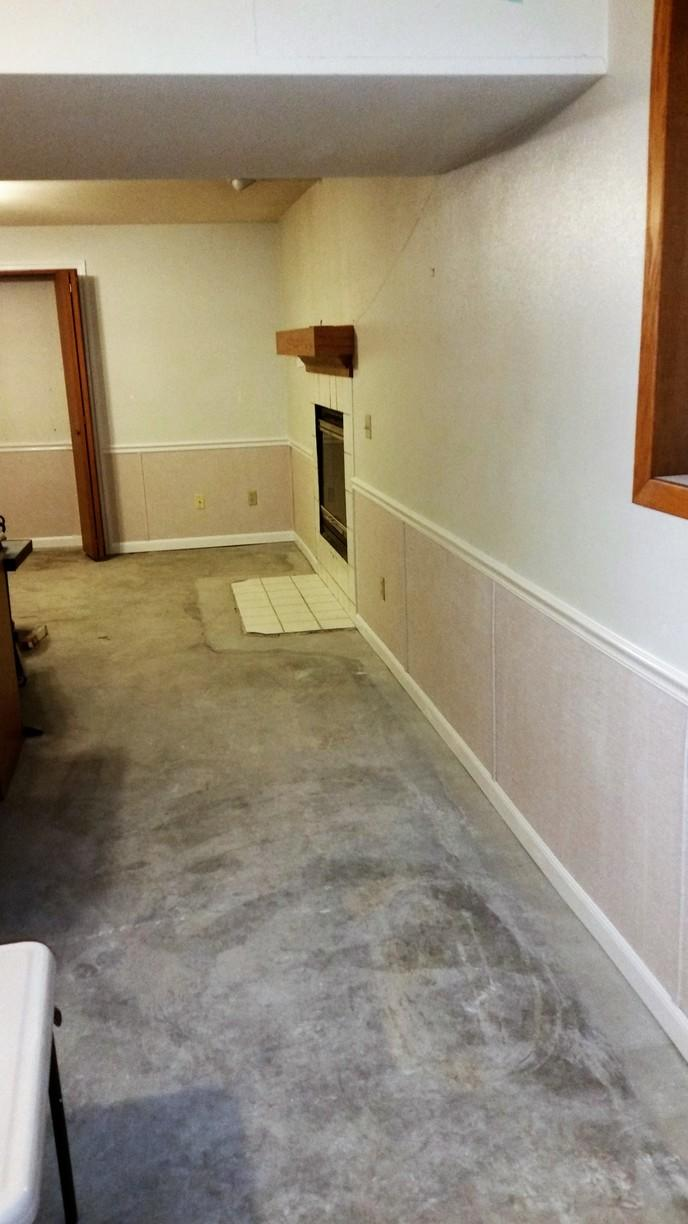The sleek wall restoration product makes the room look like a new addition! It's great in any basement.