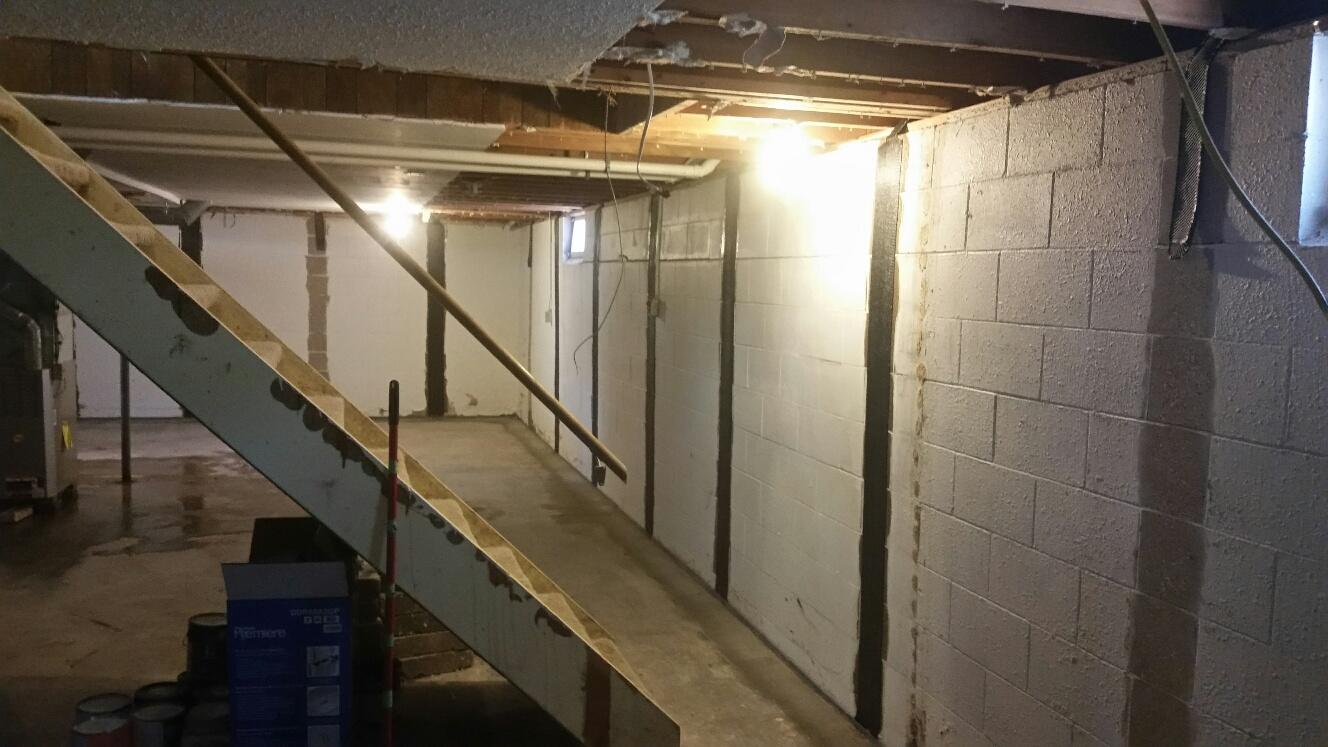 Fourteen CarbonArmor strips are installed in the Cedar Falls basement on a total of three walls.