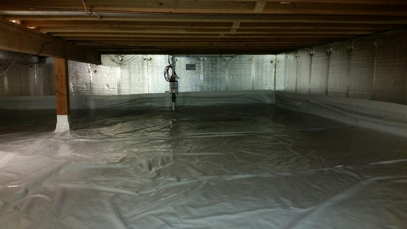 The completed project includes the CleanSpace Drainage Matting, Terra Block Insulation, SilverGlo Insulation, and CleanSpace Vapor Barrier.