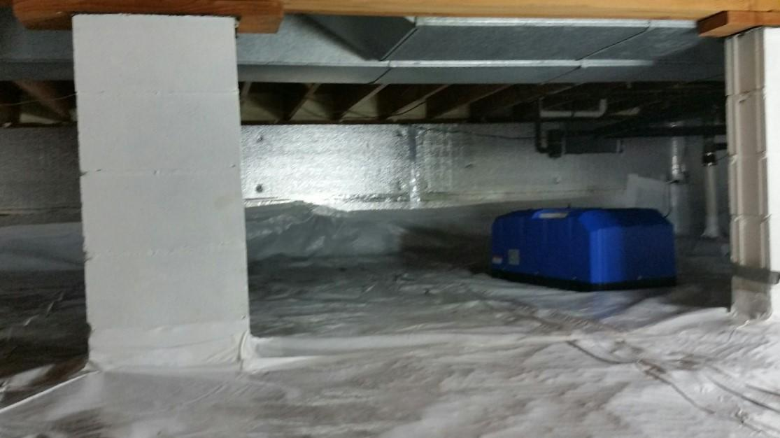 A SaniDry CX is installed. The SaniDry line is a line of self-draining dehumidifiers.