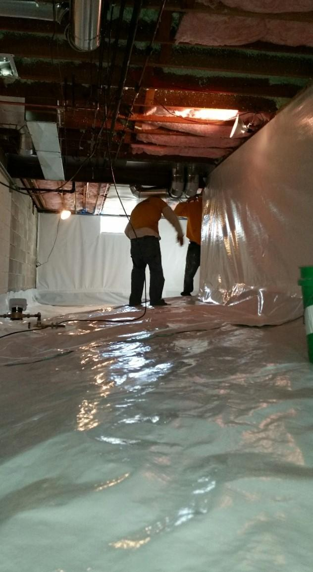 CleanSpace is protecting the crawlspace from water, odors, and vapors.