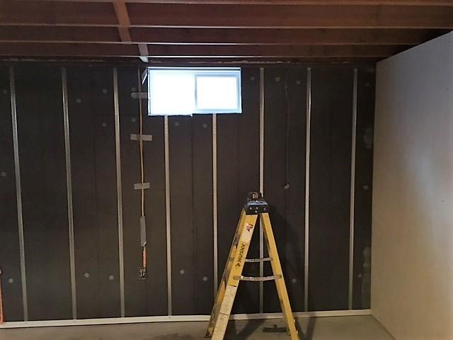 The Basement to Beautiful Panels are of an R-13 insulation rating, and are 2 1/2 inches thick. They also provide a waterproof vapor barrier.