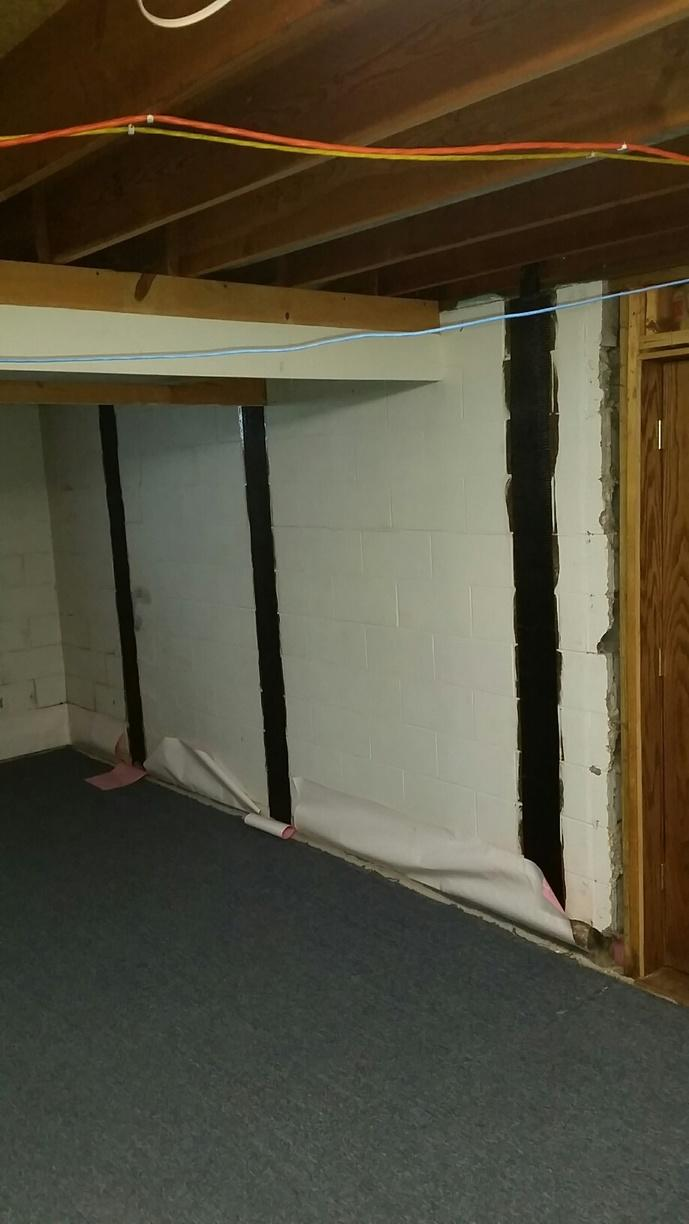 The CarbonArmor strips stabilize the bowing wall in the Morton, IL Basement.