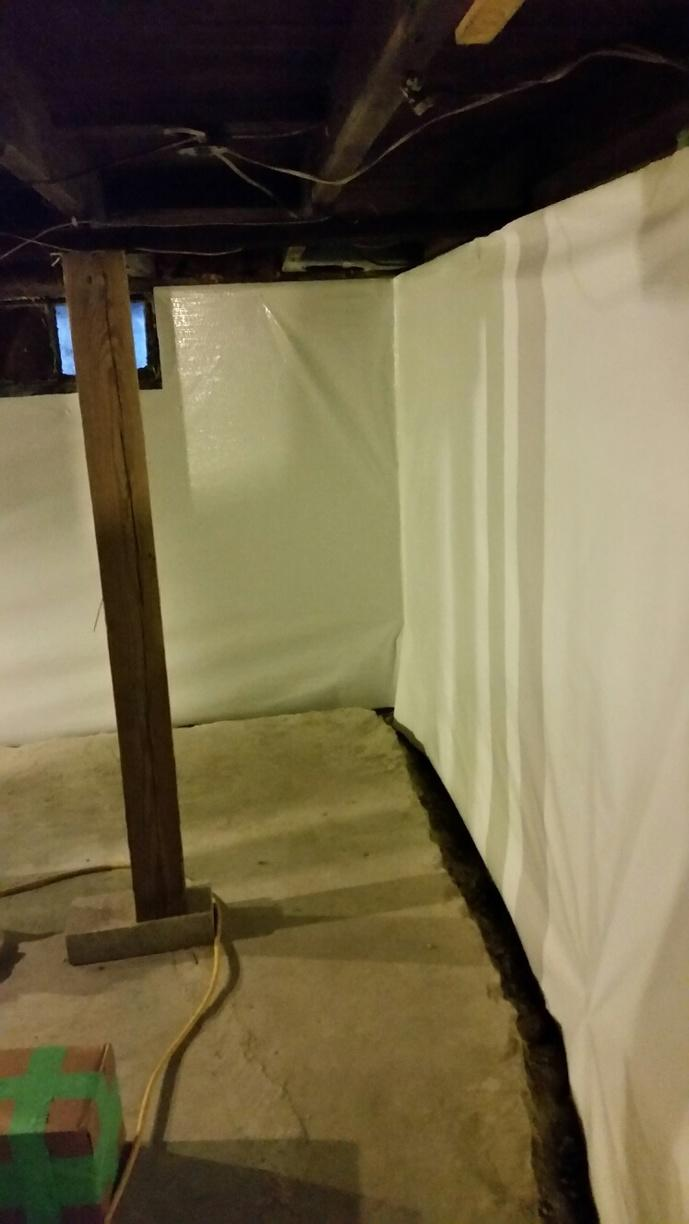 CleanSpace Wall is affixed to the walls, protecting the interior from water intrusion.