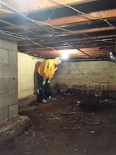 Crew members pick up any debris so drainage matting and CleanSpace Liner are not punctured.