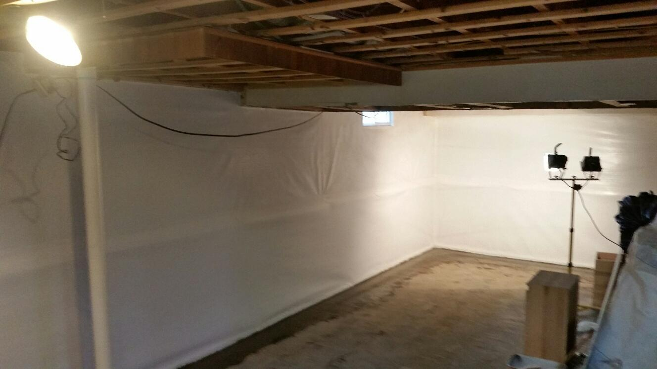 CleanSpace and WaterGuard is installed around the perimeter of the basement, keeping water from surfacing.