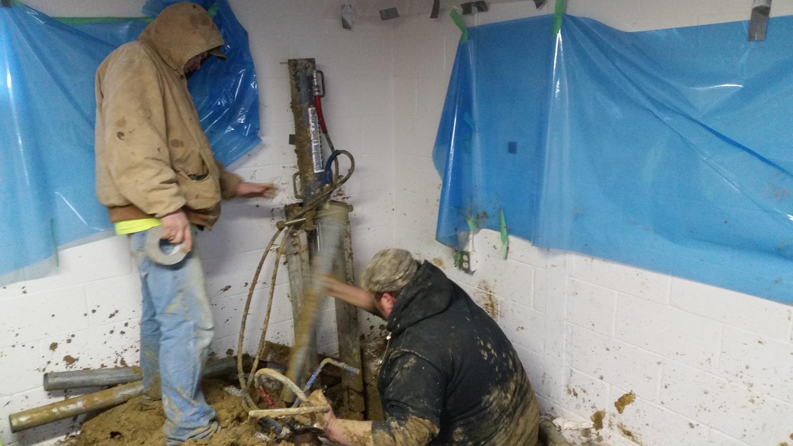 Crewmen hydraulically installed Push Piers to reach proper soil depths.