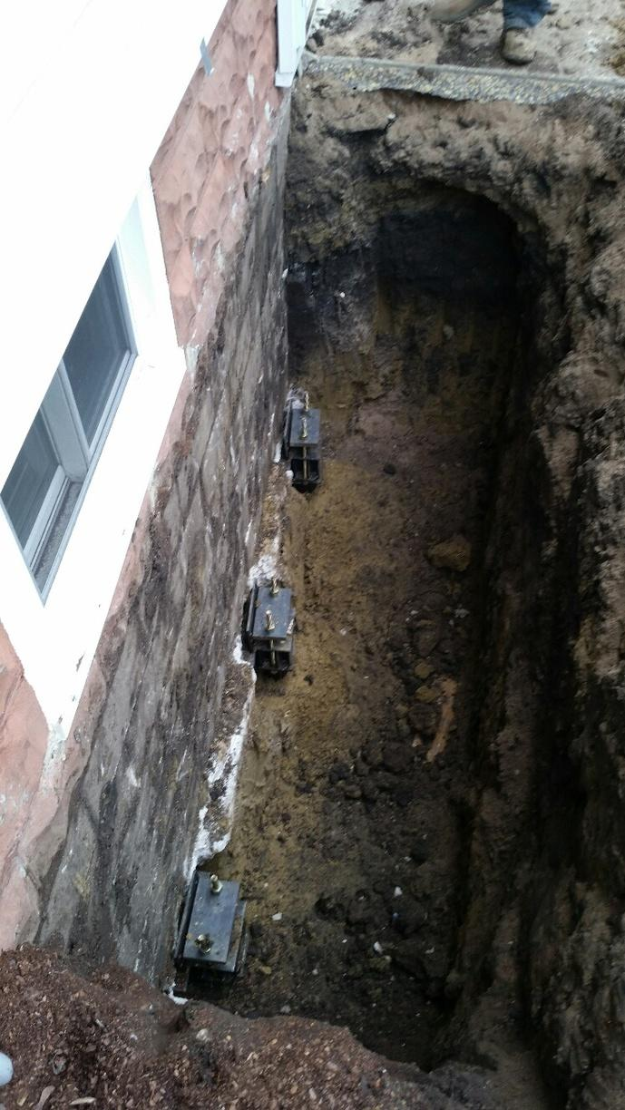 Push Piers were successfully installed on the outside of the foundation.