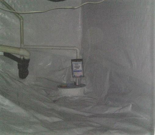 SuperSump is installed to keep water from pooling in the crawlspace and entering in the basement.