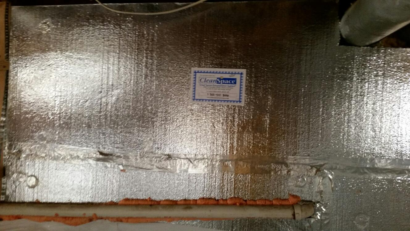 SilverGlo is installed around the walls of the crawlspace, providing the proper insulation.