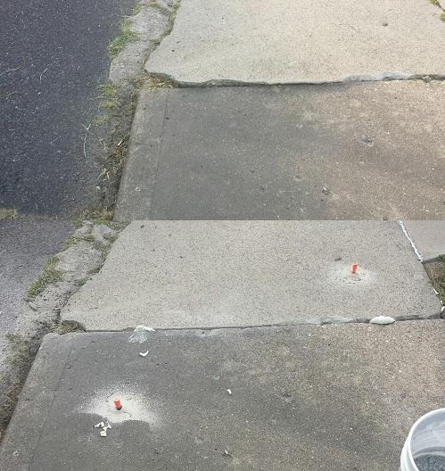 Uneven sidewalk before (top) and after (bottom) PolyLevel.