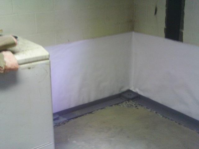 CleanSpace and WaterGuard are installed around the perimeter of the basement.