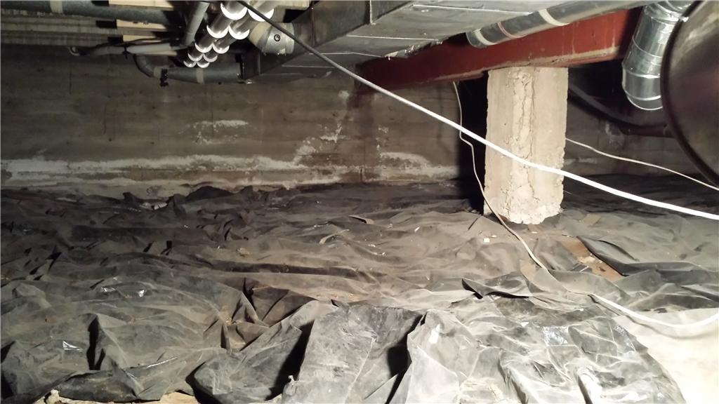 Thin tarp does not protect the crawlspace from moisture due to puncturing and tearing easily.