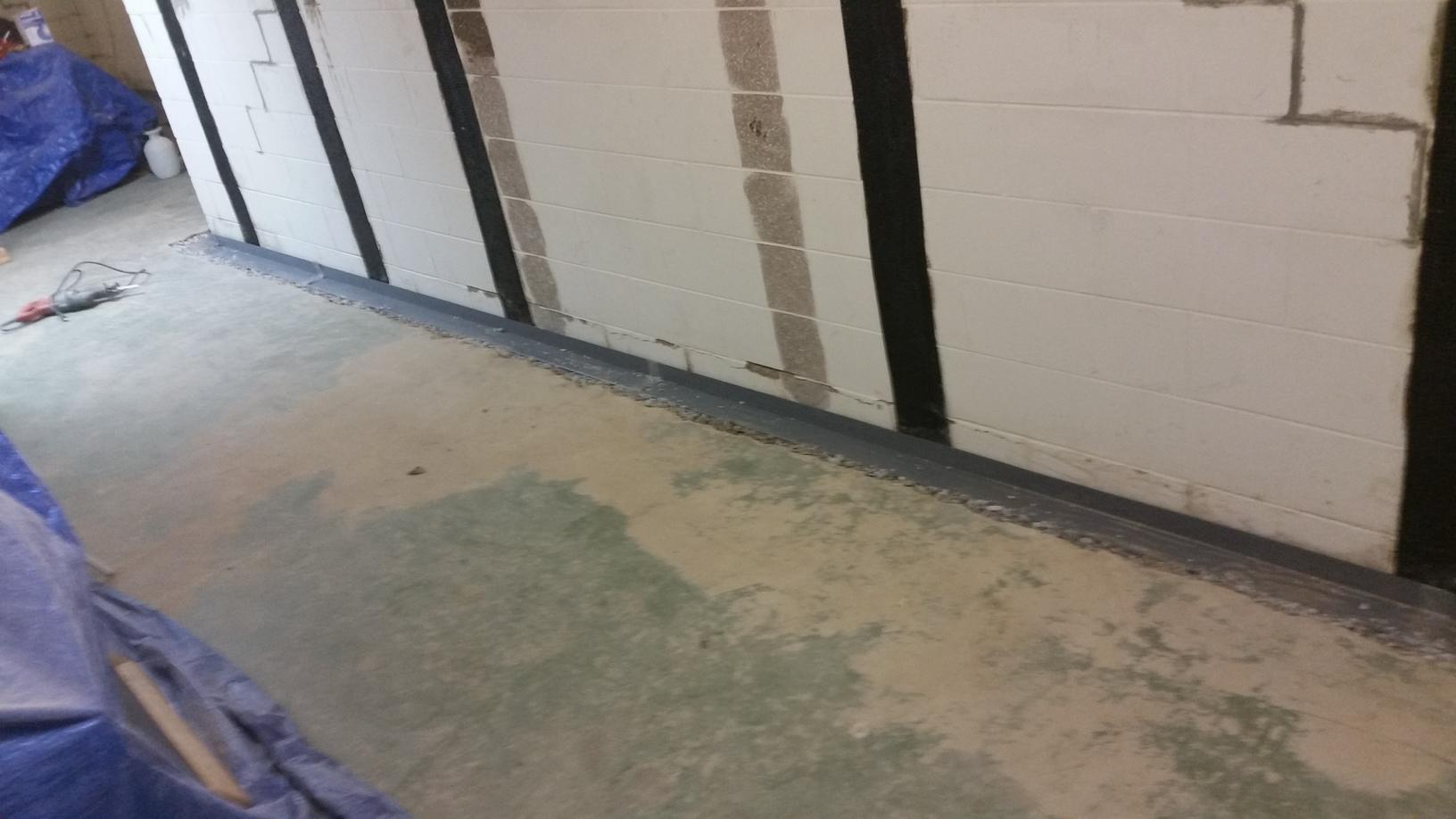 WaterGuard is installed along the perimeter of the basement.