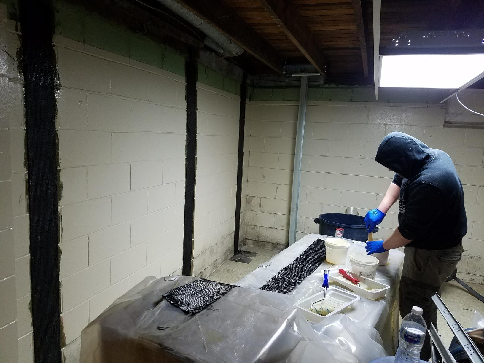 CarbonArmor and PowerBraces installed in a basement to help stabilize the walls.