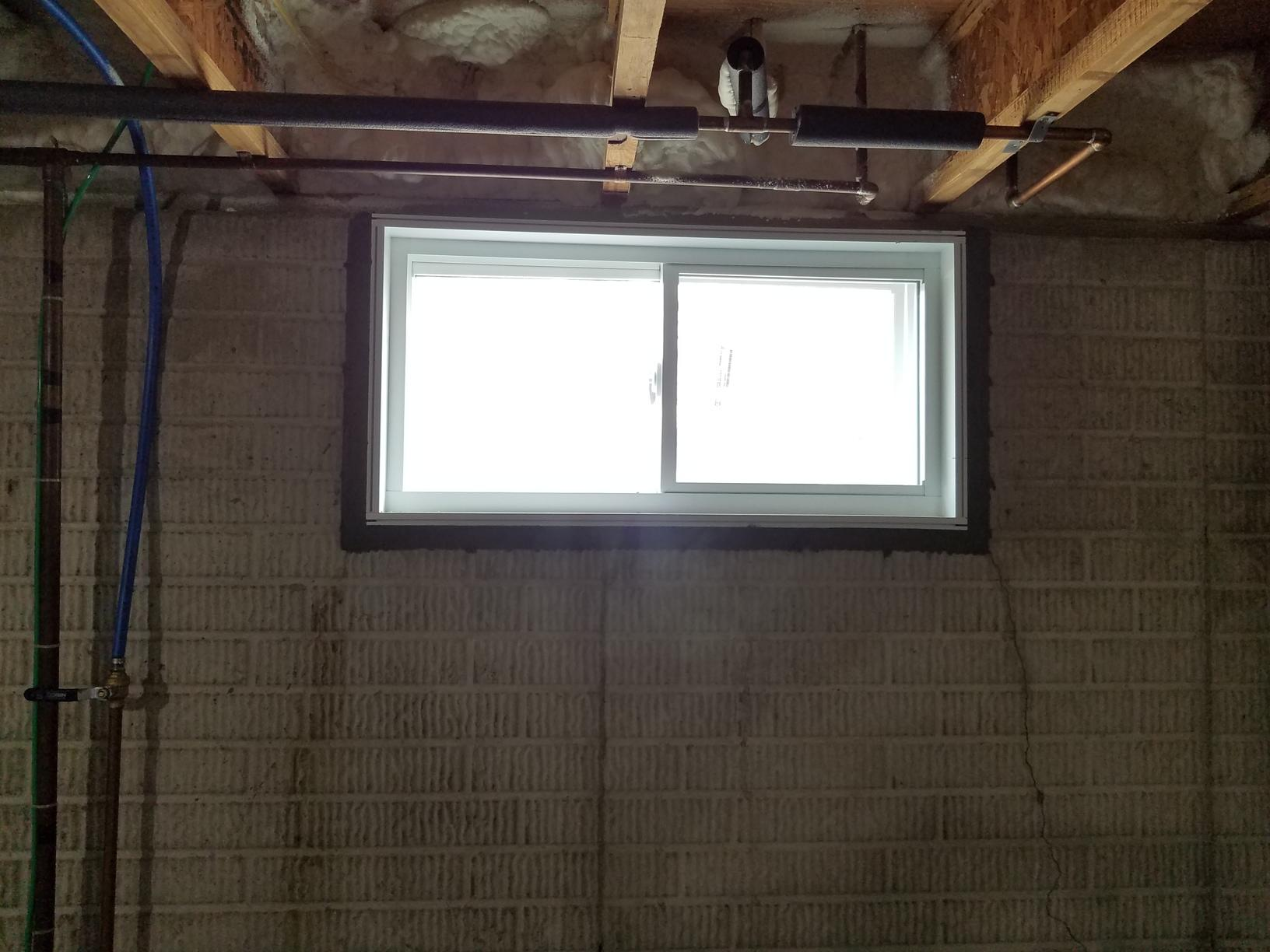 Window and wall before crack injection