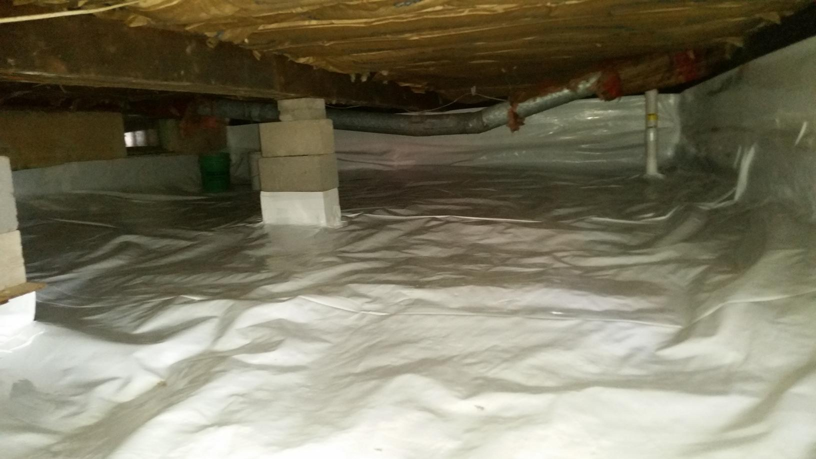 After the crawlspace is cleaned out is is leveled and encapsulated.