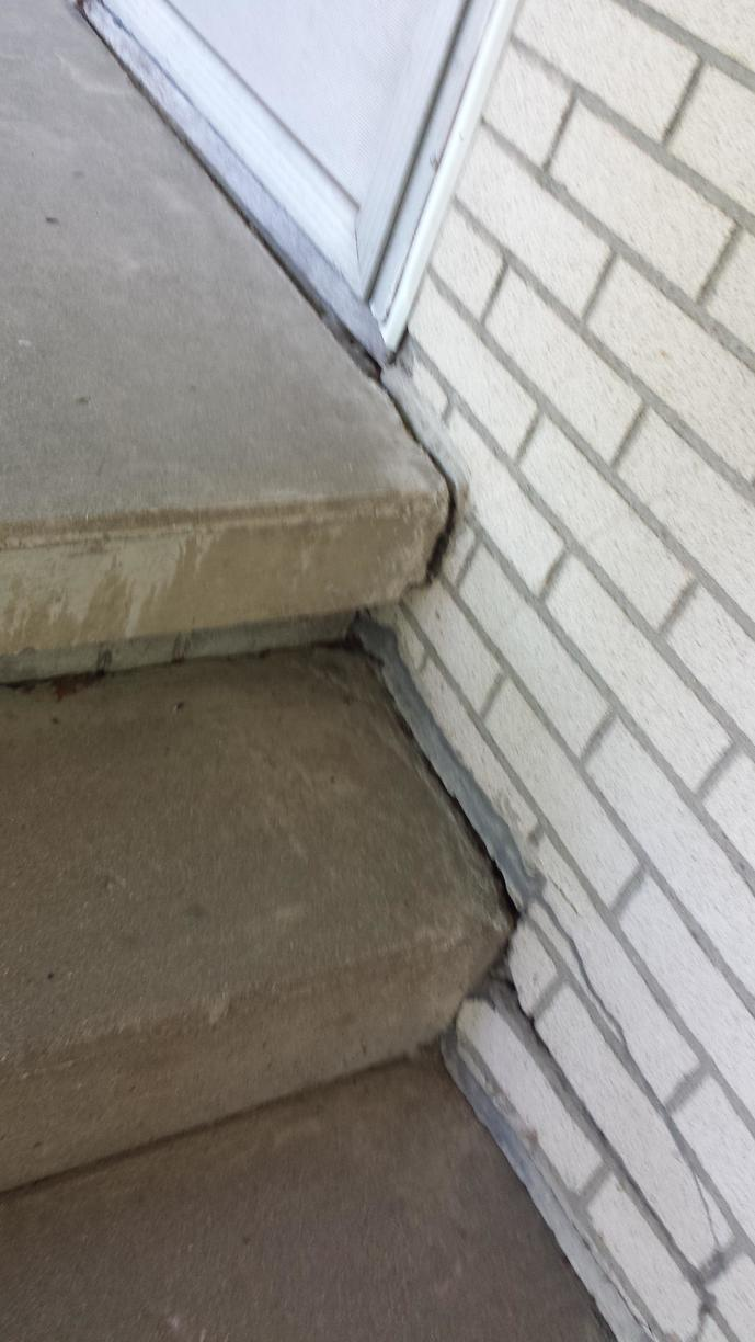 The steps became slanted and started to crack
