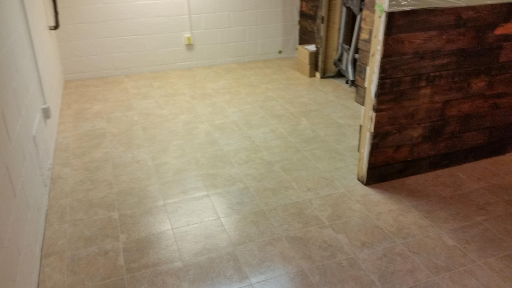 The full view of the room after the tiles are installed.