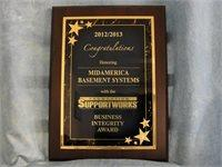 2012-2013 Foundation Support Works Business Integrity Award
