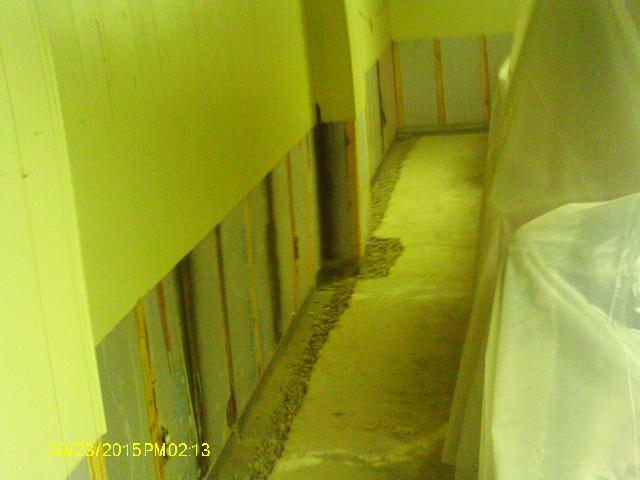 The team tore out the bottom of the basement walls that were compromised with mold growth and some decay. The perimeter is being prepped for the WaterGuard XL drainage system.