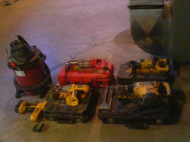 The team gathers all of their tools and equipment to avoid tracking dirt, dust or mud back and forth within the home.