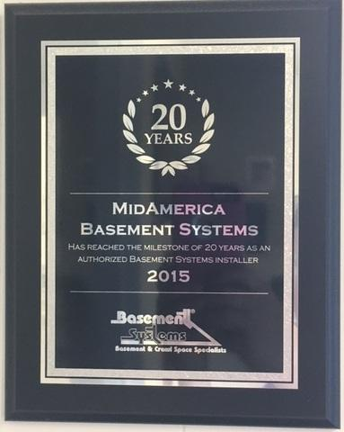 Celebrating 20 years as a Basement Systems Dealer