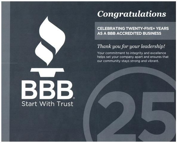 25 Years as a BBB Accredited Business
