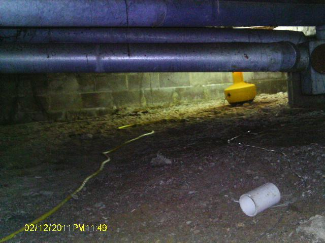 This crawl space is susceptible to various issues including rising humidity levels.