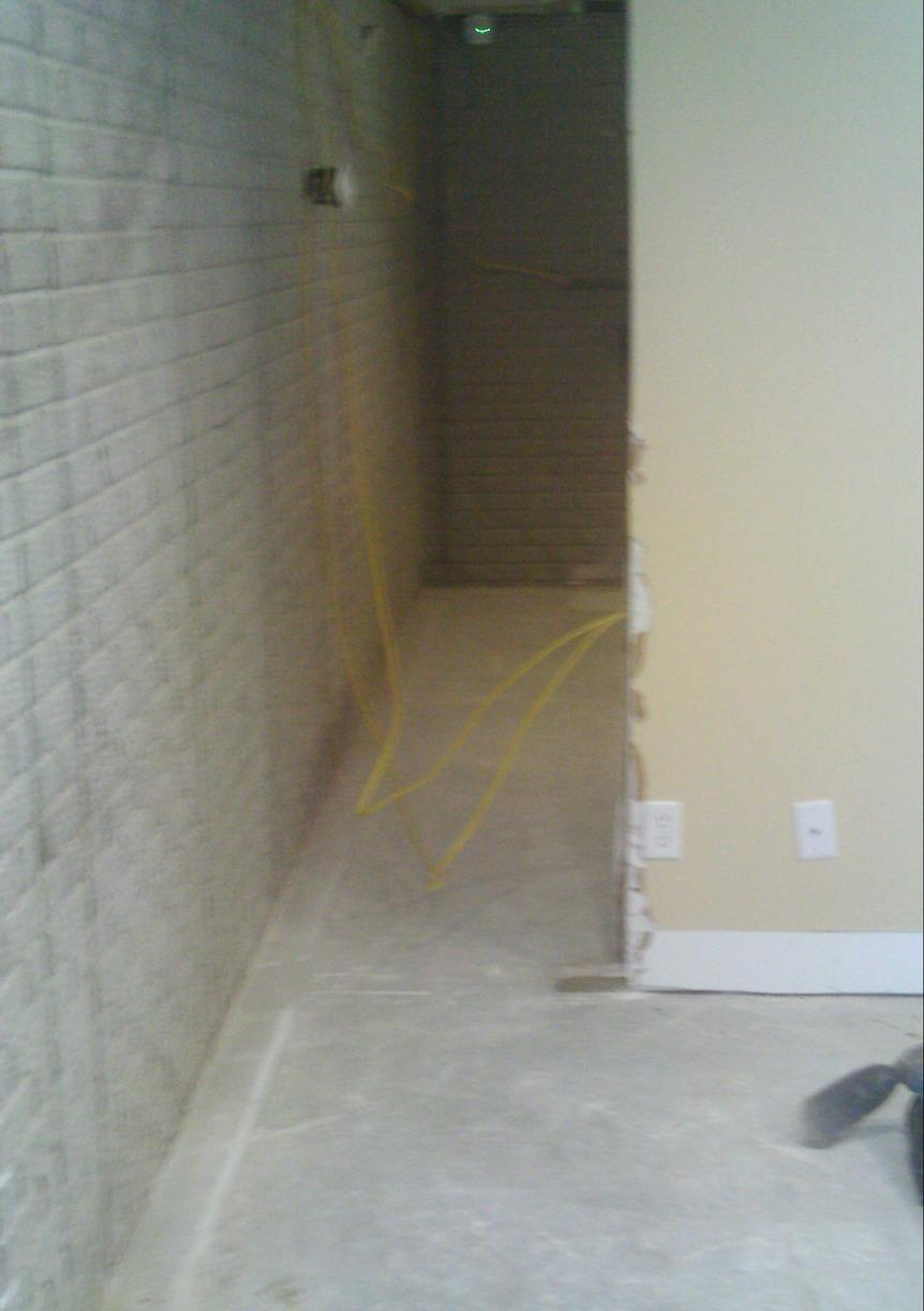 A long view of the perimeter before waterproofing.