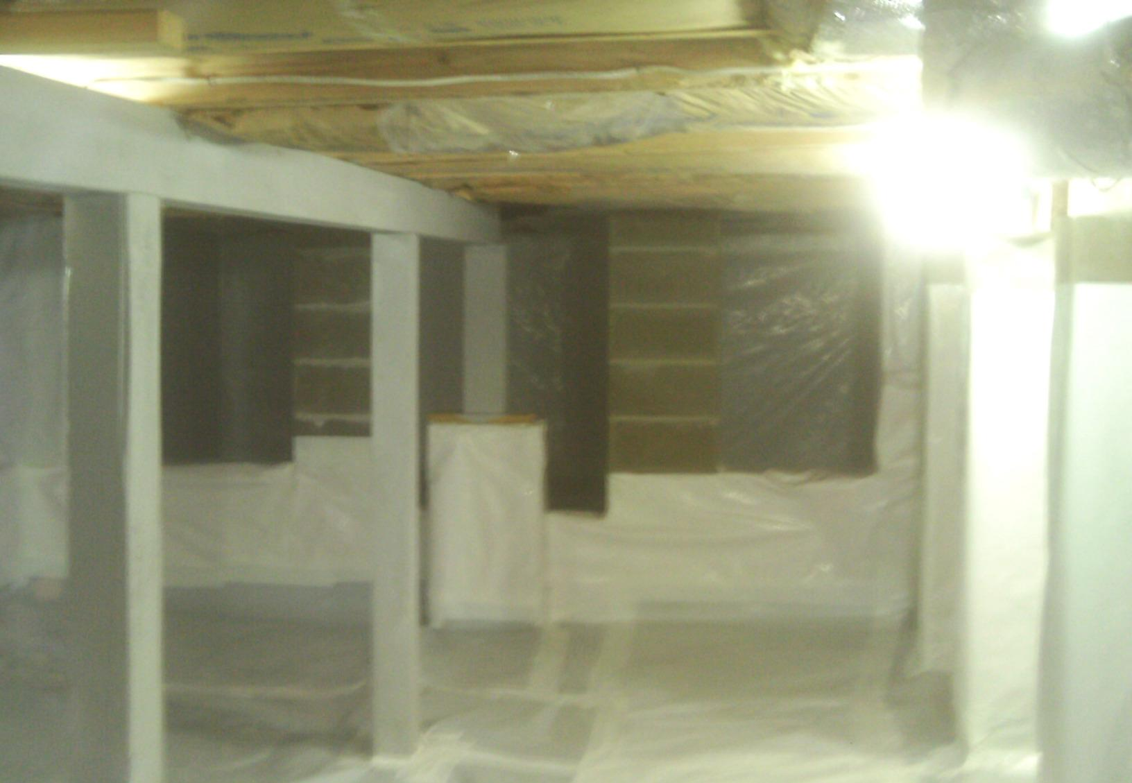 CleanSpace comes in a white color that really brightens this crawl space.