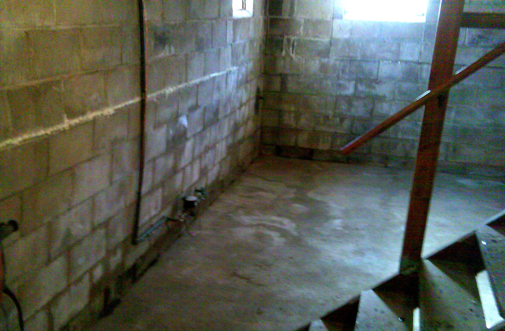 WAter Intrusion is evident especially where the walls meet the foundation floor.