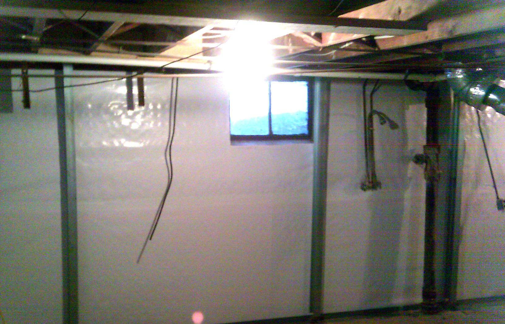 CleanSpace liner is installed to drain wall leaks and act as a vapor barrier to help keep the basement dry.