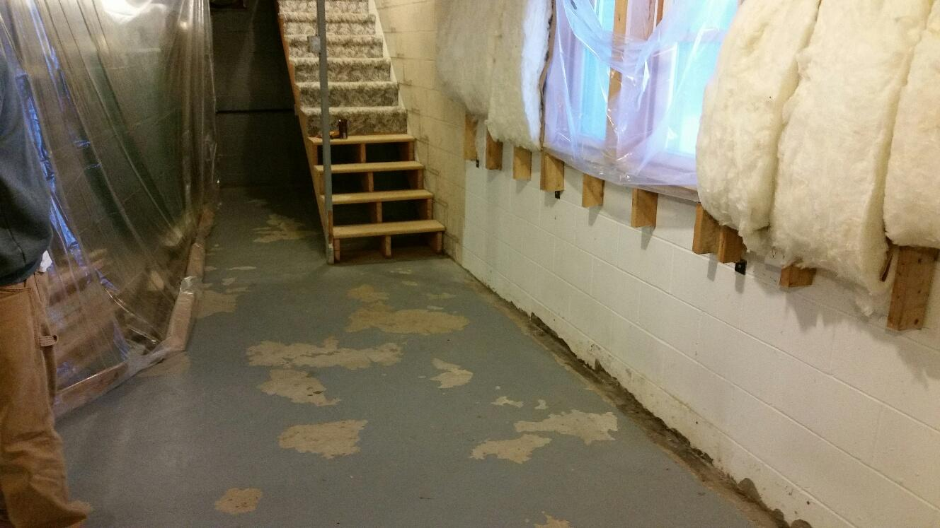 The basement before had water intrusion through various areas including where the walls meet the foundation floor.
