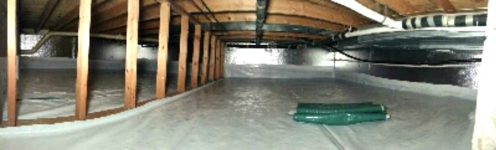 CleanSpace liner was used to seal the crawl space from ground water seepage. SilverGlo, CleanSpace and SaniDry CX work in perfect unison to provide a cleaner, healthier and beautiful crawl space!