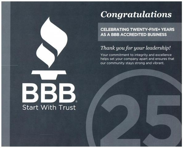 25 Years as a BBB Accredited Business Certificate