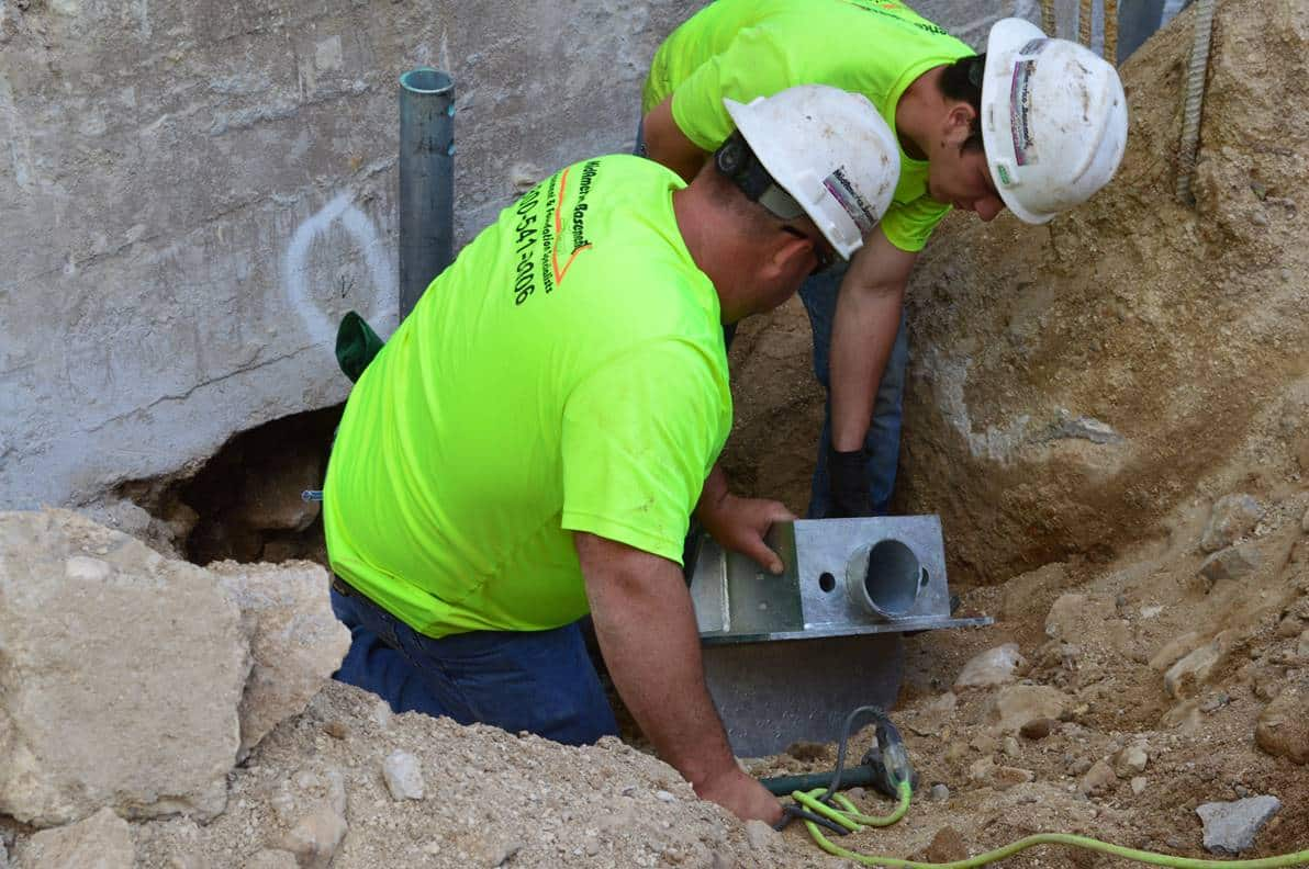Men working on foundation
